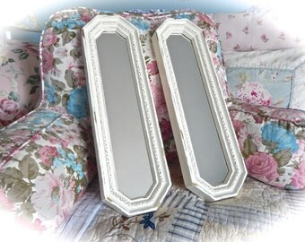 SHABBY Long Octagonal ORNATE Carved Wall MIRRORS Off White Cream Set Of 2 Cottage Nautical Chic