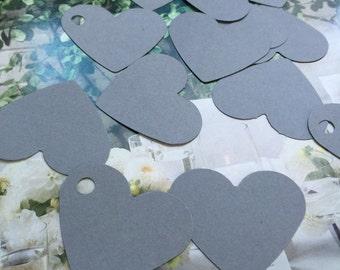 50 gray  hearts tags/ gray Tags, Favor Tags, Treat Bag Tags, Product Tags, Hang Tags, Wish Tree Tags, birthday tags,wedding tags,thanks tags