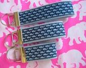 "Inspired Blue vineyard vines whale fabric on light blue webbing keychain key fob key wristlet - 3"", 4"" or 5.25"" wristlet - Handmade"