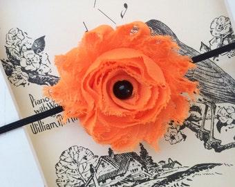 Halloween Baby Headband.  Halloween Newborn Headband. Orange and Black Baby Headband. Orange Flower Headband. First Halloween