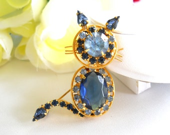 Kramer Trembler Brooch Kitty Cat Blue Rhinestone Vintage