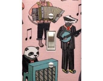 Musical Animal Alphabet Light Switch Plate Cover / Baby Girl Nursery Decor Pink / Tween Teen Girls Room / Panda Piano Badger Accordion