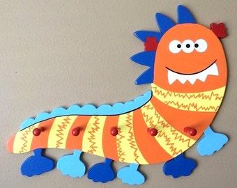 Lil Monster Caterpillar Coat Rack / Boys Room Decor / Monster Nursery Decor /  Caterpillar Peg Rack / Cute Monster Decor