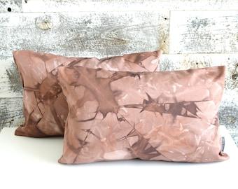 Two Burgundy Shibori Pillow Covers 12x18 inches - Marsala