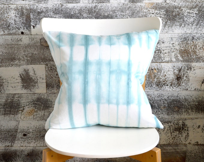 Pale Blue Shibori Pillow Cover 18x18 inches - Pale Sea Glass