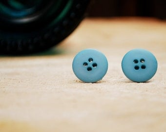 Sky Blue Button Earrings
