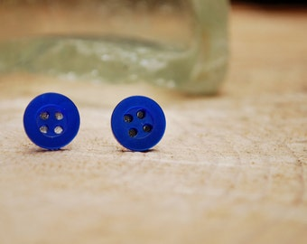 Royal Blue Button Earrings