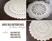 Crochet Doily Rug Pattern Pack - Three doily rugs - PDF