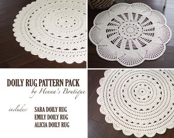 Crochet Doily Rug Pattern Pack - Three doily rugs - PDF