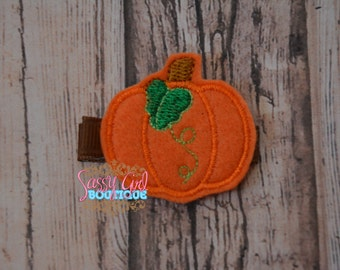 Holiday-Infant toddler Girl Hair Accessories -Pumpkin Embroidered Clip- Thanksgiving Fall Boutique Felt Halloween Hair Clippie-No slip grip