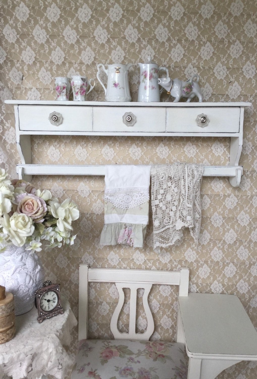 shabby white shelf with drawers towel holder linen rack. Black Bedroom Furniture Sets. Home Design Ideas