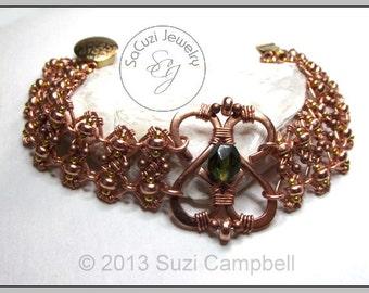 BRACELET Wire work Copper -WWB17- EMERALD FOREST