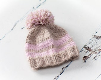Luxury Pom Pom Baby Hat - Alpaca/Wool/Linen - Beige, Pink - Choose Size