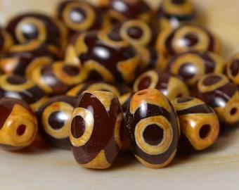 Small three eye dzi beads carnelian DZL328