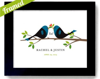 Personalized Wedding Gift Unique Engagement Gift Idea Framed Gift Lovebirds Newlywed Gift Affordable gift She Said Yes Framed Gift Art Print