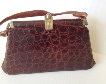 brown crocodile leather vintage purse, small 40s evening bag, elegant vintage leather clutch