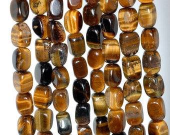 11x8-12x8mm Cognac Tiger Eye Gemstone Yellow Nugget Cube Loose Beads 15-16 inch Full Strand (90184984-898)