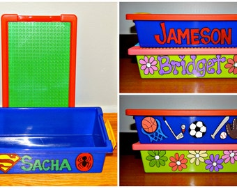 Travel Building Blocks Box - Personalized  and Hand Painted