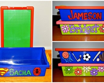 Travel Building Bricks Box with plate - Personalized  and Hand Painted