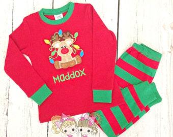 Boys Christmas Pajamas - Reindeer - Custom Holiday Pajamas - Christmas PJ's - Custom embroidered red and green striped pajamas - IN STOCK