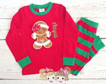 Girls Christmas Pajamas- Gingerbread Girl - Holiday PJ's - Embroidered Kids Christmas Pajamas - Personalized Christmas pajamas - IN STOCK