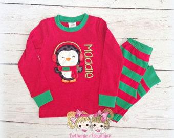 Kids Christmas Pajamas - Penguin - Custom embroidered pajamas - Holiday pajamas - Personalized PJ's - Red and Green Striped - IN STOCK
