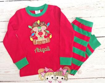 Girls Christmas Pajamas - Christmas Reindeer - Holiday Pajamas - Embroidered Christmas PJ's - Monogrammed pajamas- IN STOCK