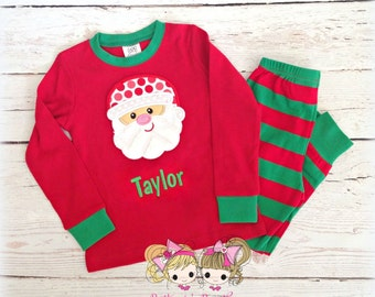 Kids Christmas Pajamas - Santa Christmas Pajamas - Holiday PJ's- Red and green striped embroidered Christmas pj's-  IN STOCK