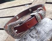 Leather Dog Collar, Antique Diablo Concho