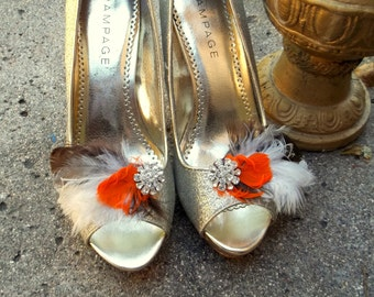 Shoe Clips - Bridal shoe clips, feather shoe clips, wedding shoe clips, fall wedding, rustic wedding, clips for bridal shoes, wedding shoes