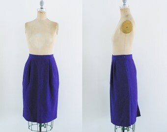 Vintage 60s Purple Pencil Skirt Wool Skirt Purple Wool Skirt Dark Purple Skirt Mad Men Size 14 Size 12 Large