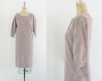 Vintage 90s Dress Brown Stripe Dress Slouch Dress Sweater Dress Sweatshirt Dress T Shirt Dress Comfy Dress Maternity Dress Si