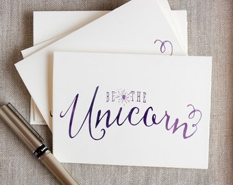 Unicorn Notecards Watercolor Purple A1 Be the Unicorn Set of 5 note cards