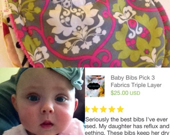 Baby Bibs Pick 3 GIRLS Fabrics of your choice Over. 70 choices Triple Layer