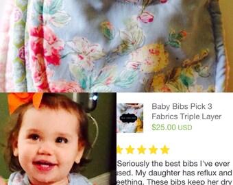 Baby Bibs Pick 3 Girls Triple Layer Super Absorbant bibs