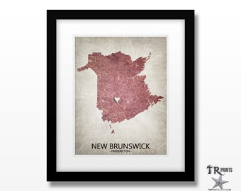 New Brunswick Canada Map Print - Home Is Where The Heart Is Love Map - Original Personalized Map Print Available in Multiple Sizes & Colors