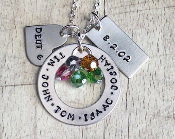 Large Family Necklace with birthstones