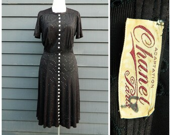 Chanel dress . lbd vintage 30s designer couture . 40s noir embroidered eyelet dress . Chanel Adaptation