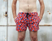 Vintage Mens Cotton Swim Trunks Red Blue and White Abstract Print Shorts
