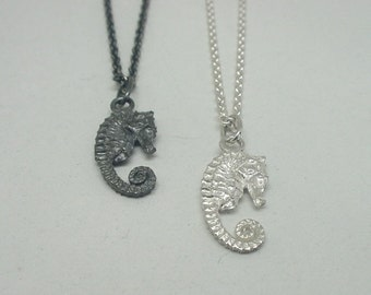 Tiny Seahorse Necklace, Sterling Silver/ Stainless Steel