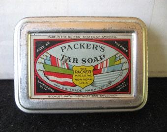 Vintage Sample sized  Packer's Tar Soap  Metal Soap holder Tin -RARE FIND