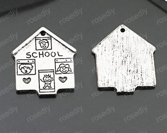 10pcs Antique Silver School Charm Pendants 20x23mm TB8005