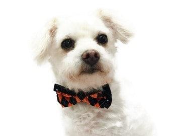 Halloween Dog Collar - Halloween Bow Tie Dog collar - Dog Bow Tie Collar - Bow Tie Dog Collar-Orange and Black Dog Collar-Argyle Dog Collar