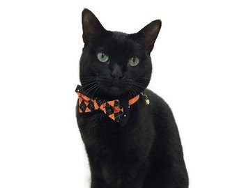 Cat Collar - Halloween Bow Tie Cat Collar With Bell - Bow Tie Cat Collar - Halloween Cat Collar