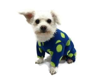 Polka Dot Fleece Dog Pajamas-Fleece Dog Pajamas-Dog Clothing-Dog Onesie-Pajamas for Dogs-Dog Clothes-Clothes for Dogs-Blue Dog Pajamas