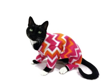 Hot Pink and Orange Fleece Cat Pajamas - Fleece Cat Pajamas-Cat Pajamas-Cat Clothing-Cat Onesie-Clothes for Cats-Cat Clothes - Cat Apparel