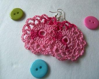 Dark Pink Handmade Crochet Earrings