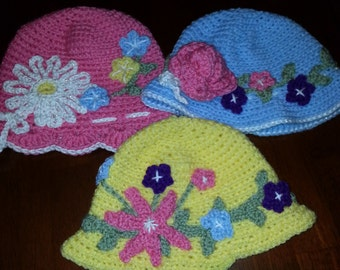 EASTER SALE...Hand Crocheted Baby and Toddler Hats for Girls