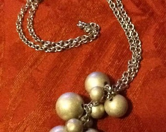Vintage Silver-toned Necklace Hanging Large Faux Pearl Beads Charms Pendant Pearls Baubles 1970 1980
