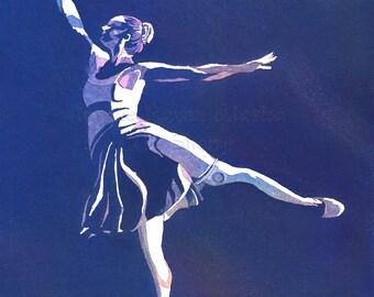 Ballerina in Blue - print of a ballet dancer by Alaska Artist Kim Sherry